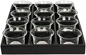 Hosley Set of 12 Clear Glass Oyster Tea Light Holders 2.5 Inch Diameter. Ideal Gift for Spa Aromatherapy Weddings Tealights Votive Candle Gardens O4