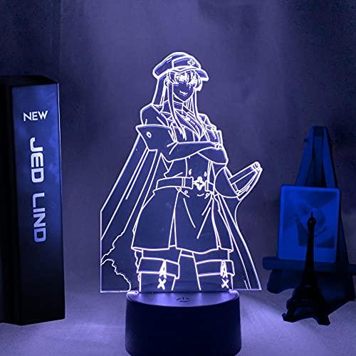 Lâmpada de anime 3D Akame GA Kill Esdeath, luz noturna de LED para decoração de quarto, presente de aniversário, mangá Akame GA Kill luz neon, luz noturna de LED para crianças, 16 cores, controle remoto HOICHAN