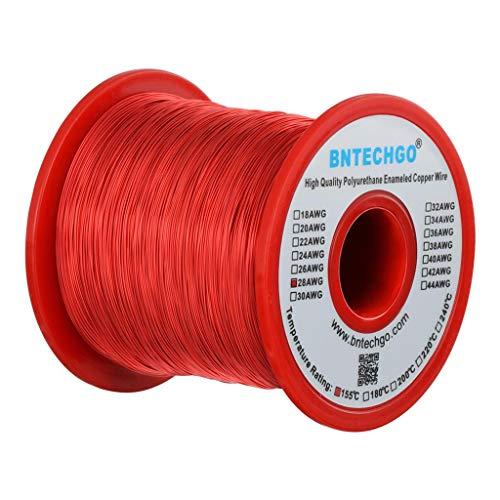 Bntechgo - 1 bobina de hilo de cobre esmaltado de 28 AWG, 454 g, 0,32 mm de diámetro, de color rojo, temperatura nominal 155 ℃ ampliamente utilizado para inductores transformadores