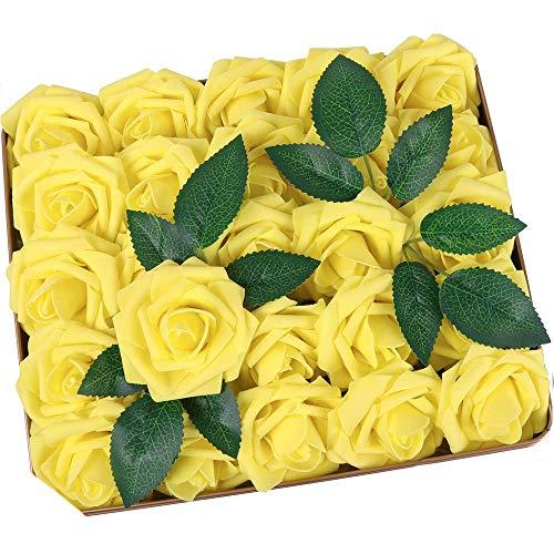 Ruiuzi Rosa Artificial Flor 25PCS Rosa Falsa Espuma Mirada Real con Ho