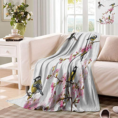 """Datiansun Birds Throw Blankets, Group of Cute Hummingbirds on Flowering Branch Best Friends Peace Illustration Home Fluffy Mini Blanket for Couch Sofa, 50"""" x 30"""" Multicolor"""