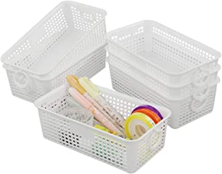 Lesbin 6-Pack White Small Plastic Storage Baskets with Handles, 7.95