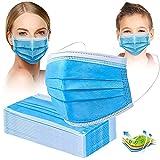 Crom Cr2 Masken Mundschutz - Farbe : BLAU/SCHWARZ - Mundschutz 50 Stück, 3-lagige Masken, Mundschutz, Maske, Einwegmasken (Blau50)