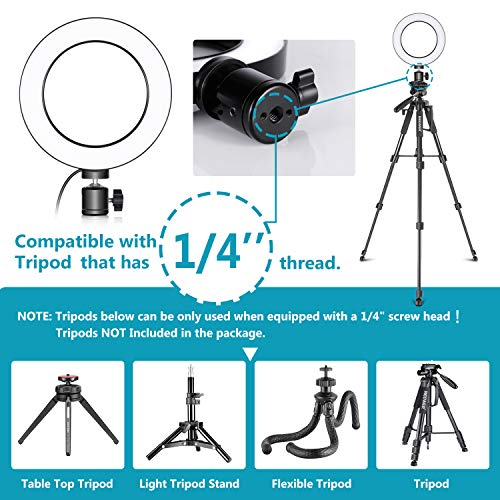 6s Samsung S Serial Huawei 360 Degree Rotating for iPhone 8 Neewer Table Top Live Broadcast LED Selfie Ring Light with Smartphone Clamp for Live Stream,YouTube Video 7 6s Plus 2-Light Mode