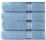 COTTON CRAFT Ultra Soft Luxury Set of 4 Ringspun Cotton Bath Towels, 580GSM, Heavyweight, 30 inch x 54 inch, Light Blue