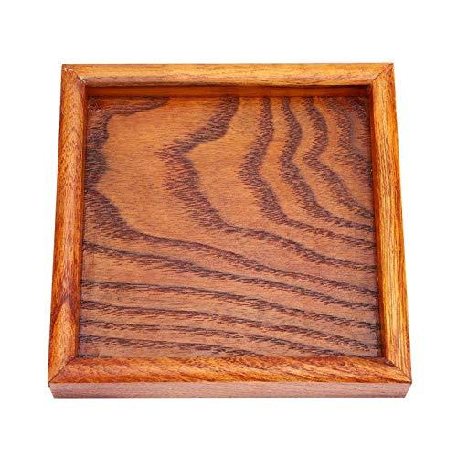 Bandeja de té cuadrada de madera maciza, plato de servicio de aperitivos de sushi de café premium, bandeja de madera cuadrada para cafetería, restaurante y cafetería(12.5 * 12.5cm)