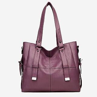 Women's Handbag, Shoulder Bag Messenger Bag, Soft Leather PU Leather, Large Capacity, Stylish Retro Style, Suitable for Office, Shopping, Dating, Travel,Purple