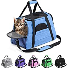 """AIRLINE APPROVED PET CARRIER- ACCEPTED as a SOUTHWEST Airlines Pet Carrier, AMERICAN Airlines Pet Carrier, JETBLUE Pet Carrier, DELTA Pet Carrier Plus VIRGIN, ALASKA, FRONTIER, ALLEGIANT, UNITED & MORE. Carrier measures 17.2""""L x 10""""W x 11""""H. DESIGNED..."""