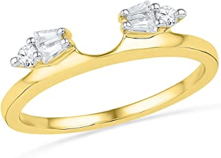 Solid 14k Yellow Gold Round Baguette White Diamond Channel Set Curved Ring Jacket Wedding Band OR Fashion Ring (1/5 cttw)