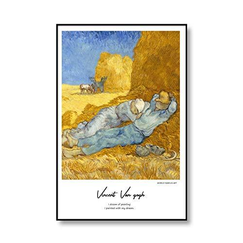 Pintura al óleo clásica de Van Gogh, girasol, noche estrellada, lienzo abstracto, impresión artística, póster, cuadro, lienzo sin marco, pintura A9 20x30cm