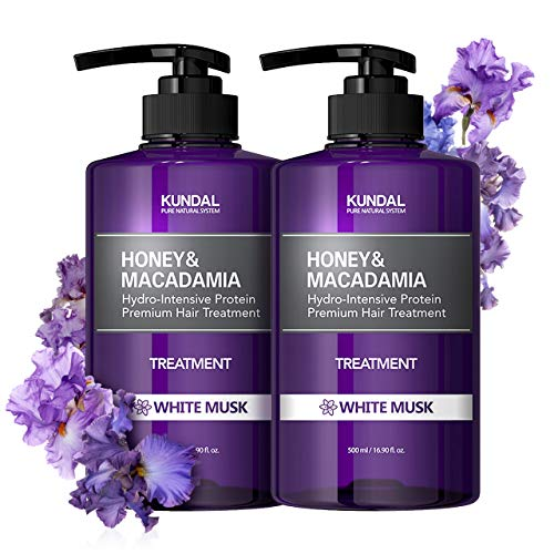 KUNDAL HONEY&MACADAMIA Hydro-Intensive Protein Premium Nature Hair Treatment (White Musk) 16.9oz x2 bottles