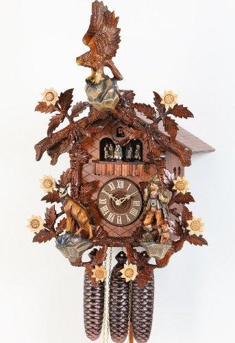Kuckucksuhr sehr aufwendig 55cm gross Mechanik 8Tage Musik Uhrwerk Hekas 3725/8EX