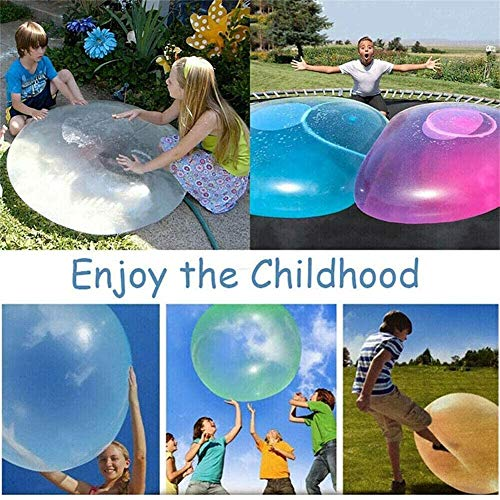 KRY Water-filled Interactive Rubber Big Amazing Bubble Balls, super wubble bubble ball with pump, Transparent Beach Bubble Ball for Summer Party and Water Play Toy (Pink, 70cm)