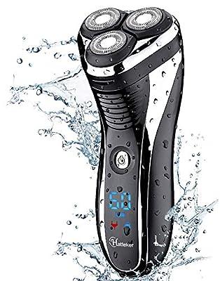 HATTEKER Electric Shaver Rotary Razor Men Cordless Beard Trimmer Pop-trimmer Wet Dry Shaver Waterproof