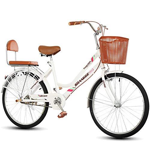 Bicicleta for mujer, 22 24 pulgadas Estilo holandés Patrimonio clásico Damas tradicionales Bicicletas blancas, Bicicletas de carretera urbana al aire libre Cuadro de bicicleta de acero de alto carbono