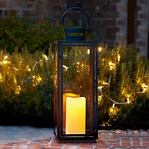 Lights4fun Lanterna Grande in Metallo Zincato Nero per Interni ed Esterni con Candela LED a Pile