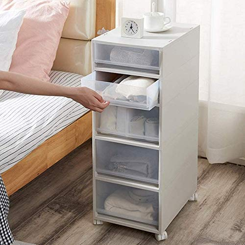 N/Z Home Equipment 5 Drawers Plastic Storage Drawer Unit on Wheels Trolley with Drawers Slide out Cabinet Rack Narrow Storage Unit Easy Moving
