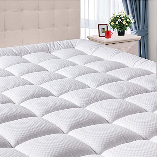 DOMICARE White 300TC Cotton Full Mattress Pad with Stretches up to 8-21 Inch Fixed Elastic Pocket, Premium Fluffy Fabric Fill Noiseless Mattress Cover