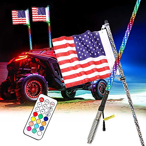AddSafety 3FT 2PCS RGB LED Whips Light With Spring Bases For Off- Road Vehicle ATV UTV RZR Jeep Trucks Dunes