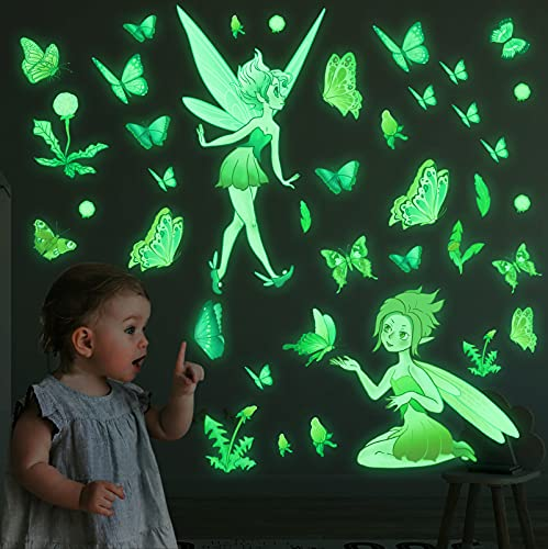Marsway Glow in The Dark Floral Fairy Wall Stickers Luminous Butterfly Flower Fairy Deals for Home Decor Room Bedroom Ceiling Gifts for Baby Kids Floral Fairy