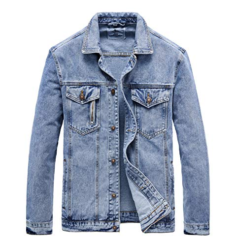 JYG Men's Casual Button Down Denim Jacket Classic Trucker Jean Coat