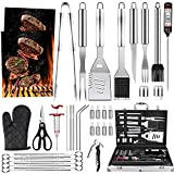 Luyata BBQ Grill Accessories Tools Set, 39PCS Stainless Steel Grilling Barbecue Tool Sets Kit with Aluminum Case, Thermometer, 2 Grill Mats for Backyard Outdoor Camping Birthday Party