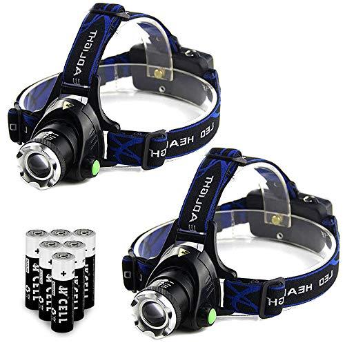 2 Pack LED Headlamp Super Bright 3000 Lumen 3 Mode Headlight With AAA Batteries