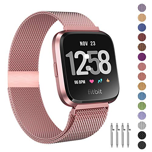 Fitlink Metal Bands Compatible for Fitbit Versa/Versa Lite Edition/Versa 2 Smart Watch for Women and Men,Small and Large, Multi-Color (Rose Gold, Large)