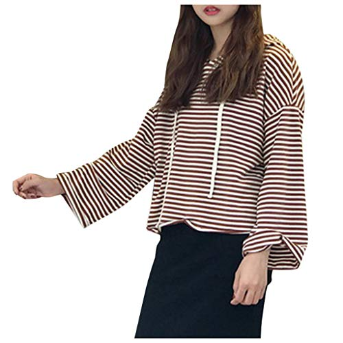 CMOM Pullover Damen Warm Fashion Womens Casual Patchwork Long Sleeve Striped T-Shirt Top with Hat Loose Kapuzenpullover Pullovern Langarm Sweatshirt Mantel