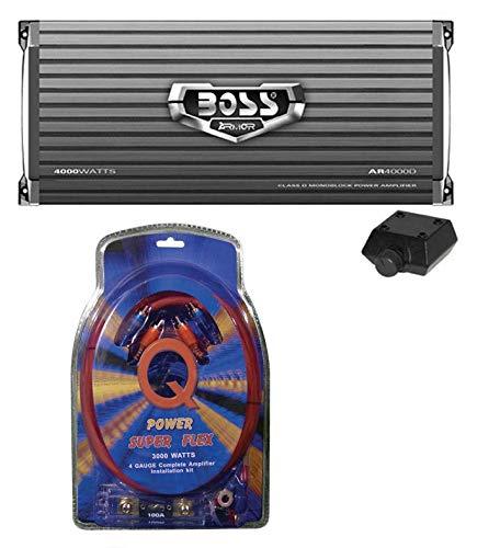 Boss Armor AR4000D 4000w Mono Car Audio Class D Power Amplifier+Remote+Amp Kit