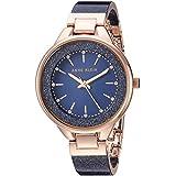 Anne Klein Women's AK/1408NVRG Swarovski Crystal Accented Navy Blue Shimmer Resin Bangle Watch