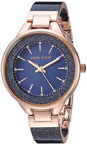 Anne Klein Women's AK/1408NVRG Swarovski Crystal Accented Navy Blue Shimmer Resin Bangle Watch