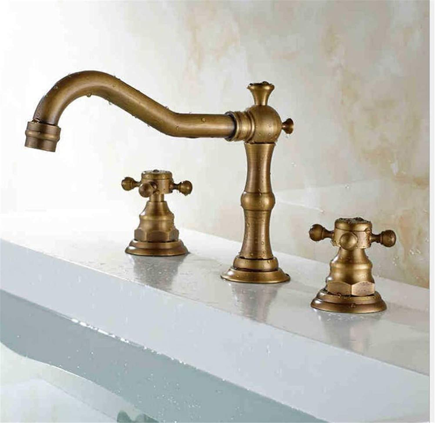 Bathroom Sink Basin Lever Mixer Tap Copper-European Three-Hole Basin Faucet Imitating Antique Copper Washbasin Cold and Hot Water Faucet Toilet Faucet