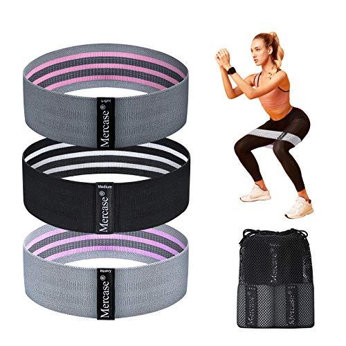 Bikien Bande di resistenza, fasce per esercizi in tessuto con 3 livelli di resistenza per fianchi e glutei, fasce antiscivolo per allenamento di forza da donna, uomo, yoga, pilates, fitness