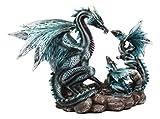 Ebros Narygos Blue Iceberg Mother Dragon with Baby Dragons Statue Home Decor Resin Fantasy Dragon Family Sculptural 10' H