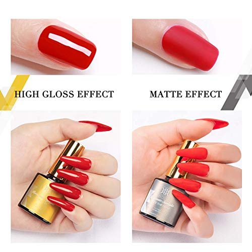 RSTYLE sin Toallita capa Superior capa Superior Mate y capa Base de uñas empapa de UV LED Semipermanentes de Uñas en Gel 3pcs 10ml