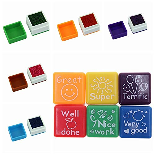 Chilits - Timbro per insegnanti, 6 pezzi, per insegnanti scolastici e incoraggiare il timbro autoinchiostrante per bambini, ben fatto, super grande, bel lavoro, molto buono, fantastico