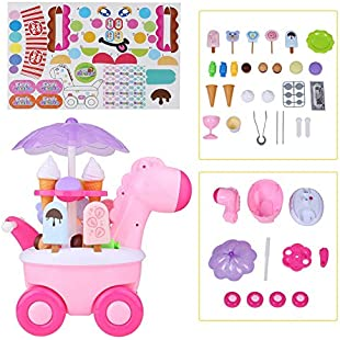 Salmue Children's Shopping Cart Toy - Fawn Candy Ice Cream Car - Lighting Music Trolley Toy Suitable for over 3 Years Old(Red)
