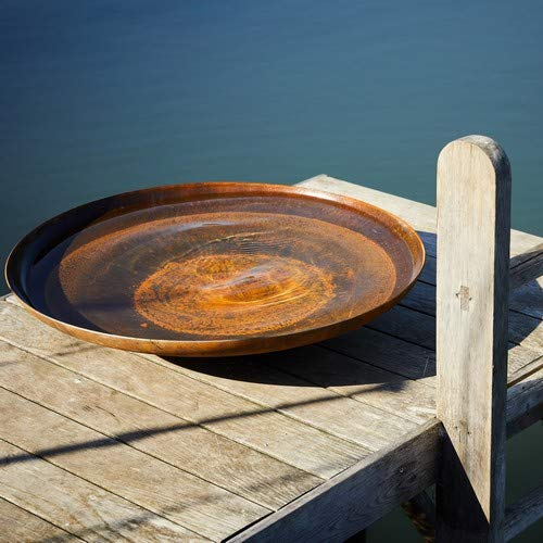 Round Wood 120cm Curved Corten Steel Water Bowl - Feature Outdoors Home Garden Design Tranquil Decor