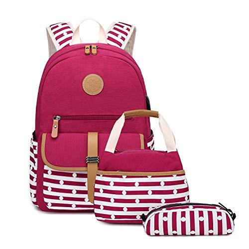 Neuleben 3 Set Schulrucksack + Kühltasche + Federmäppchen Mädchen Teenager Jungen Groß Rucksack Schulranzen mit USB Laptopfach Wasserabweisend (Rot)
