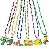 12 PCS Cinco de Mayo Fiesta Necklaces Bead- Mexican Birthday Party Favors Supplies Decorations, Luau Photo Props, Carnivals Event, Taco Tuesday, Dia De Muertos Festivals