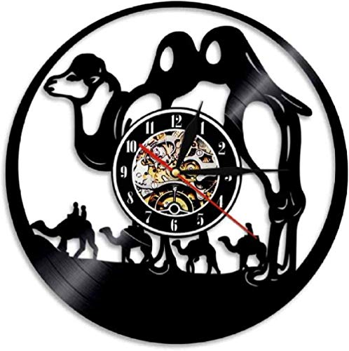 ZZLLL Reloj de Pared de Vinilo con música de Camello Reloj de Pared de Vinilo Creativo Reloj de Pared con Tema del Desierto Animal Iluminación Artista Pared Decoración del hogar Reloj P