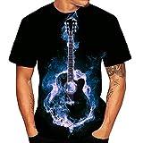 Camiseta Guitarra Hombre Camisetas Manga Corta Mujer Verano Camiseta Original Estampadas T Shirt Printed para Concierto Festival Show Banda Rock Fan Yvelands(Azul,M)