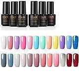 ROSALIND Vernis Semi permanent Vernis Gels UV LED Soak Off Lot de 24 Couleur Kit Manicure pour Ongle 7ml idéal cadeau de Vacances