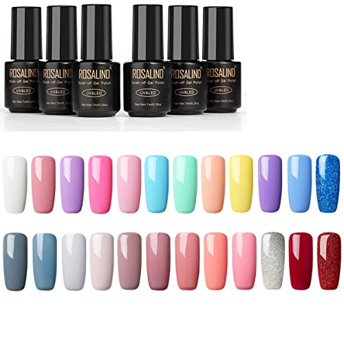 ROSALIND UV Nagellack Shellac Set,semi permanent Nagellack Set Shellac Nagellack Set Pink Color UV-Gel Nagellack LED-Lampe Gel Rot Farbe 24PCS/SET.7ml