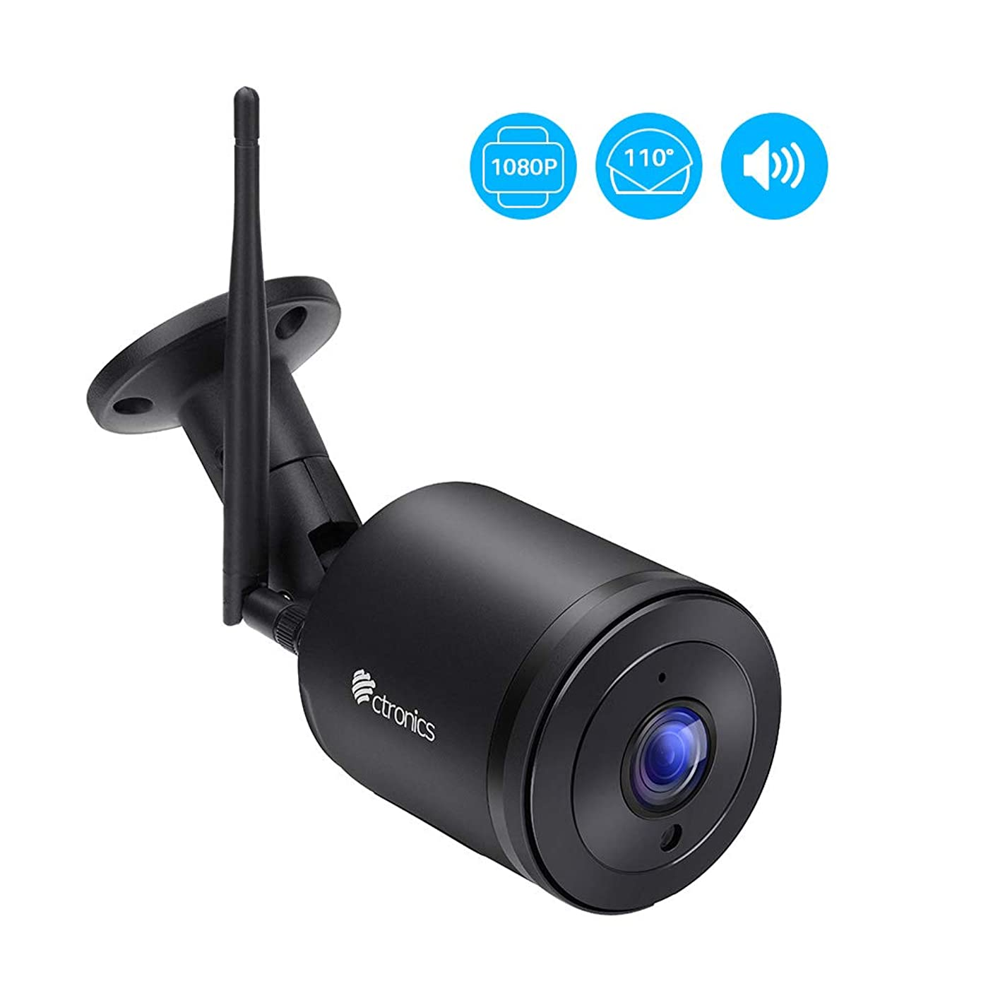 Ctronics Security Camera Outdoor, 1080P WiFi IP Surveillance Camera, Wireless Bullet Camera with 110° Wide View, Two-Way Audio, Instant Notification of Motion Detection, 98ft Night Vision, Black