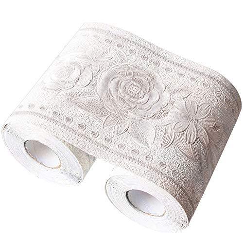 Da Jia Inc, 10,7x 499,1cm bordo per carta da parati 3D impermeabile, decorazione autoadesiva rimovibile per cucina, bagno, piastrelle, 10,6 cm x 5 m Rose White