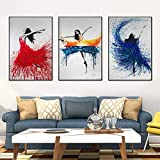 Geiqianjiumai Arte de Pared Moderno Acuarela Pintura al óleo impresión Abstracta Danza Chica Imagen de la Pared Sala de Estar decoración del hogar Pintura sin Marco 60x80 cm