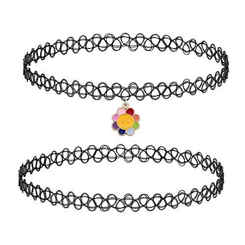 BodyJ4You 2PC Choker Necklace Smile Sun Rainbow Pendant Henna Tattoo Stretch Elastic Women Girl Teen Kids