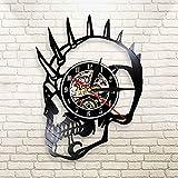 FDGFDG Dude Punk Skeleton Black 3D Vinyl Record Reloj de Pared Reloj klok Mohican Biker Tattoos Reloj de Cuarzo Decoración de Terror de Halloween